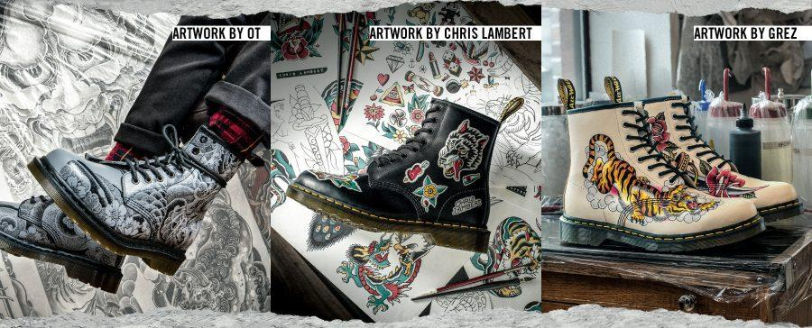 Doc DR. MARTENS 1460 JAPANESE TATTOO SLEEVE KOI FISH BOOTS